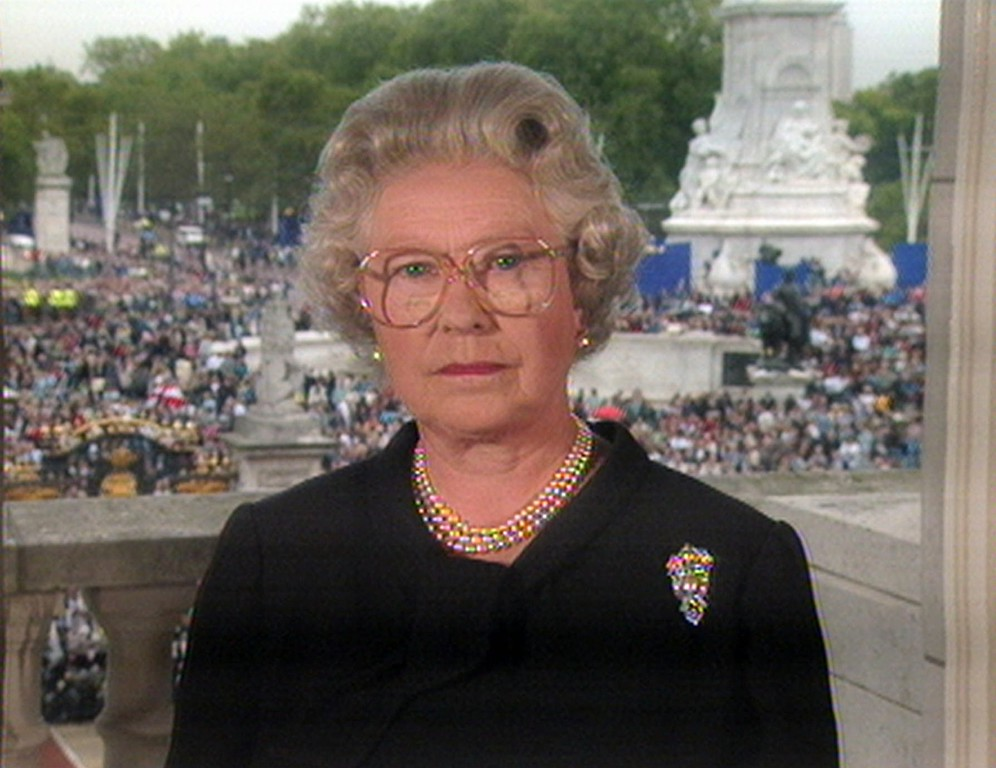 . In this image taken from video, Britain\'s Queen Elizabeth II speaks from London\'s Buckingham Palace Friday, Sept. 5, 1997 to pay tribute to Diana, Princess of Wales.  (AP Photo)