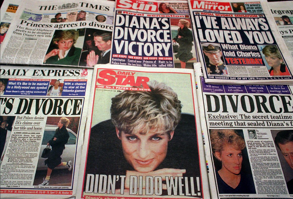 . The front pages of Britain\'s newspapers featuring the story that Princess Diana is ready to divorce the Prince of Wales, Thursday Feb. 29, 1996. The couple married in July of 1981 and have two sons. (AP Photo/Jacqueline Arzt)