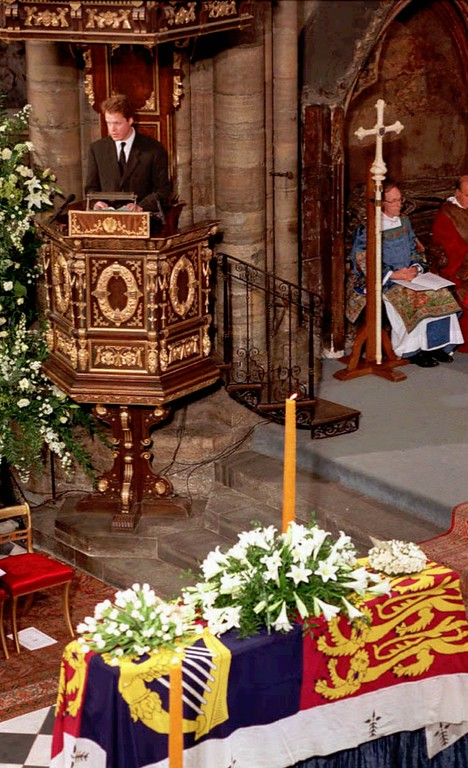 . Earl Spencer, Princess Diana\'s brother addresses the congregation in London\'s Westminster Abbey, Saturday Sept. 6 1997 during the funeral service for his sister, Diana, Princess of Wales, whos coffin is seen foreground, in this image made from television. Earl Spencer, scathingly condemned the newspapers and the paparazzi which had followed Diana\'s every step and pledged himself to protect Diana\'s son\'s, Princes\' William and Harry from such intrusion. Princess Diana was killed in a car crash in Paris on Aug. 31. (AP Photo)