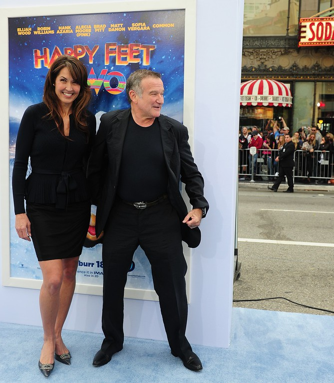 . Actor Robin Williams and his wife Susan Schneider arrive for the world premiere of the movie \'Happy Feet Two\' in Hollywood on November 13, 2011 in southern California.   (FREDERIC J. BROWN/AFP/Getty Images)