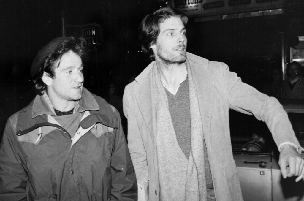 . Robin Williams, left, and Christopher Reeve, attempt to hail a taxicab in New York City on Feb. 9, 1981.   (AP Photo/Steve Sands)