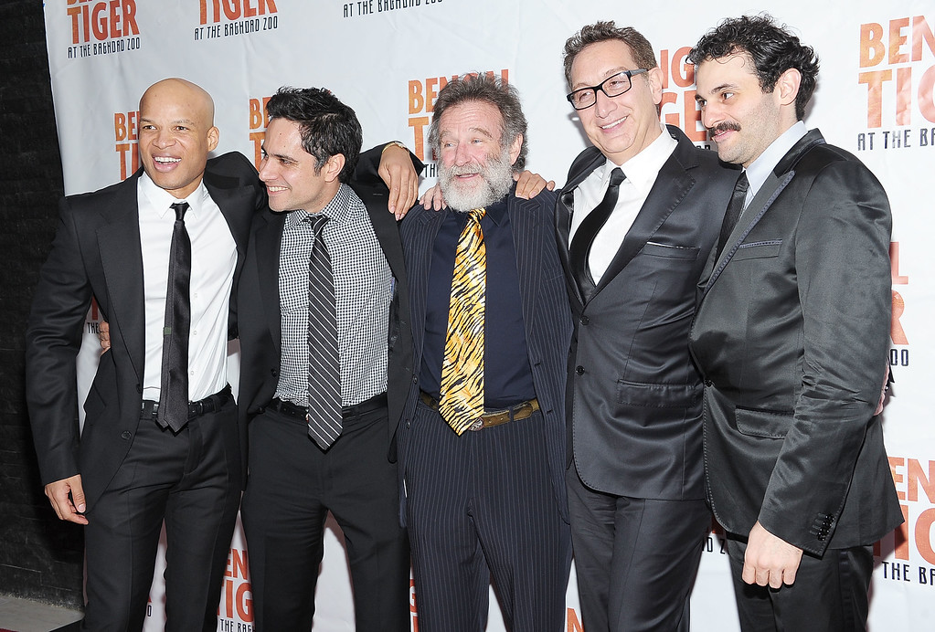 """. (L-R) Glenn Davis, playwright Rajiv Joseph, actor Robin Williams, director Moises Kaufman and actor Arian Moayed attend the after party for opening night of \""""Bengal Tiger At The Baghdad Zoo\"""" at Espace on March 31, 2011 in New York City.  (Photo by Michael Loccisano/Getty Images)"""