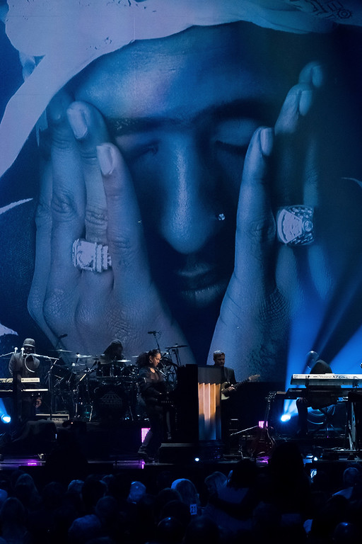. Alicia Keys performs a tribute to inductee Tupac Shakur at the 2017 Rock and Roll Hall of Fame induction ceremony at the Barclays Center on Friday, April 7, 2017, in New York.  Shakur died on September 13, 1996.  (Photo by Charles Sykes/Invision/AP)
