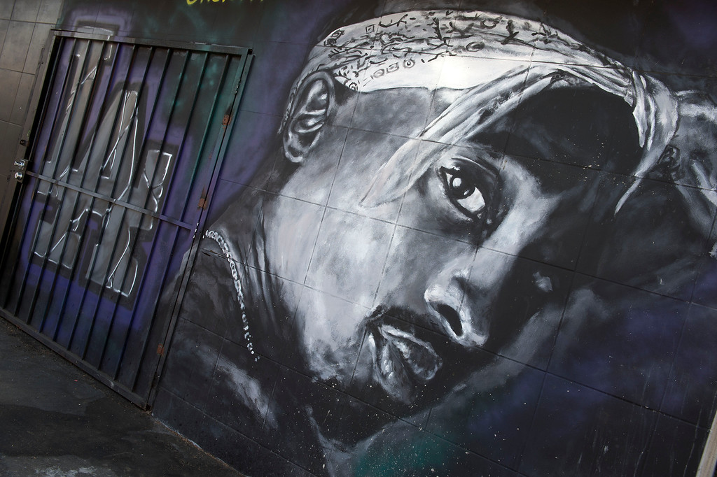 . A wall dedicated to the memory of US rapper Tupac Shakur is seen on May 26, 2016 in  Los Angeles, California.  (VALERIE MACON/AFP/Getty Images)