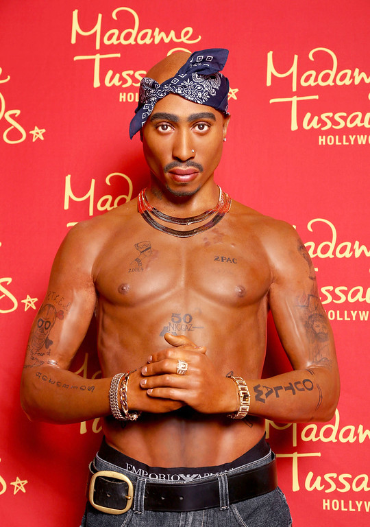 . HOLLYWOOD, CA - JUNE 15:  Madame Tussauds Hollywood commemorates Tupac Shakur\'s 44th birthday with wax figure on June 15, 2015 in Hollywood, California.  (Photo by Rachel Murray/Getty Images  for Madame Tussauds Hollywood)