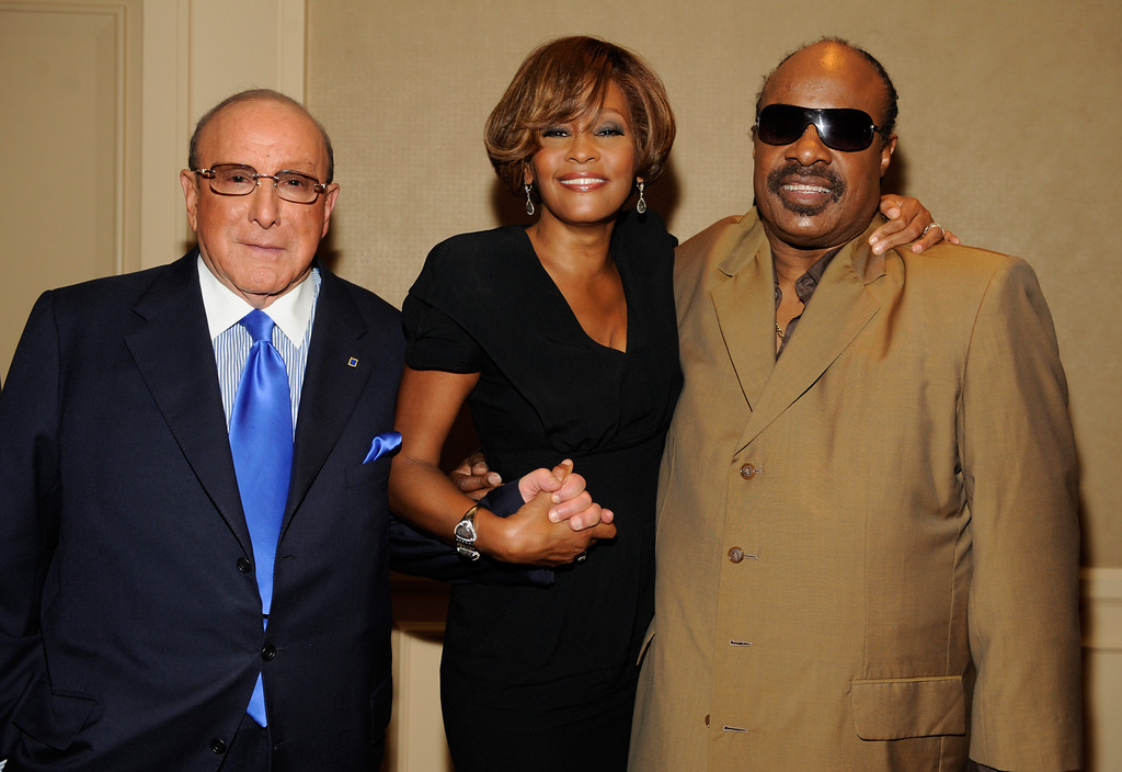 ". (L-R) Chief Creative Officer, Sony Music Worldwide, Clive Davis and singers Whitney Houston and Stevie Wonder during the Whitney Houston ""I Look To You\"" CD Listening Party held at the Beverly Hilton Hotel on July 23, 2009 in Beverly Hills, California. (Photo by Frank Micelotta/Sony Music)"