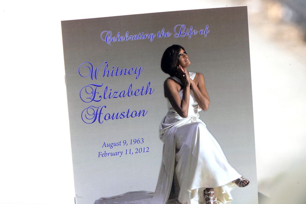 . A general view of the program from the Whitney Houston funeral on February 18, 2012 in Newark, New Jersey. Whitney Houston was found dead in her hotel room at The Beverly Hilton hotel on February 11, 2012.  (Photo by Bennett Raglin/Getty Images)