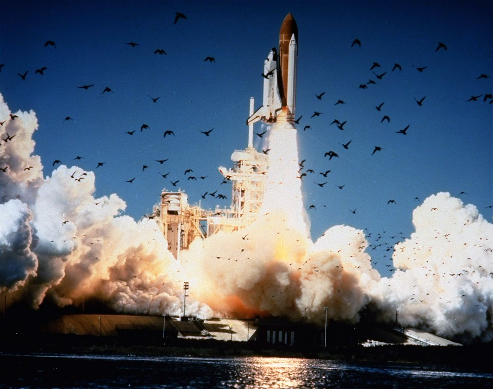 . The Space Shuttle Challenger lifts off Pad 39B at Kennedy Space Center, Florida, at 11:38 a.m., EST, January 28, 1986. The entire crew of seven was lost in the explosion 73 seconds into the launch. (AP Photo/NASA)