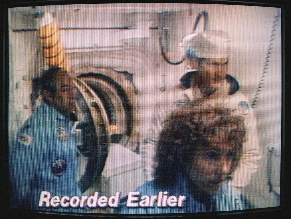 . TV monitor shots of Space Shuttle Challenger Flight 51-L, crew, Jan. 28, 1986. (AP Photo/Richard Drew)