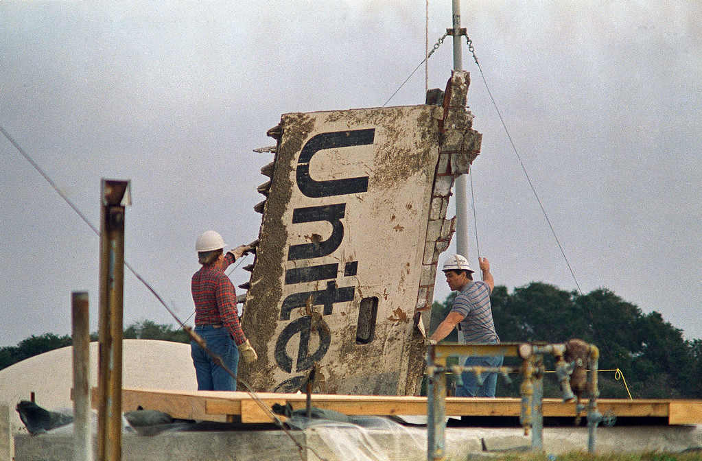 . The Space Shuttle Challenger is making its final journey this week as workers transport the debris recovered after the January 28, 1986 accident to a storage site on the Canaveral Air Force Station in Cape Canaveral, Fla., on Jan. 20, 1986. An unused Minuteman Missile silo is being used to store debris. All boxes and pieces such as the one pictured here are numbered and catalogued for retrieval if necessary. (AP Photo/James Neihouse)