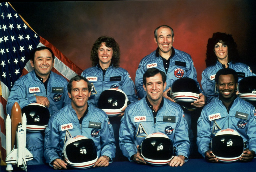 . This is the official NASA photo of the crew of the Space Shuttle Challenger mission 51L. All seven members of the crew were killed when the shuttle exploded during launch on Jan. 28, 1986. From front left, are: astronauts Michael J. Smith, Francis R. (Dick) Scobee, and Ronald E. McNair. Rear left are: Ellison Onizuka, Christa McAuliffe, Gregory Jarvis, and Judith Resnik. (AP Photo