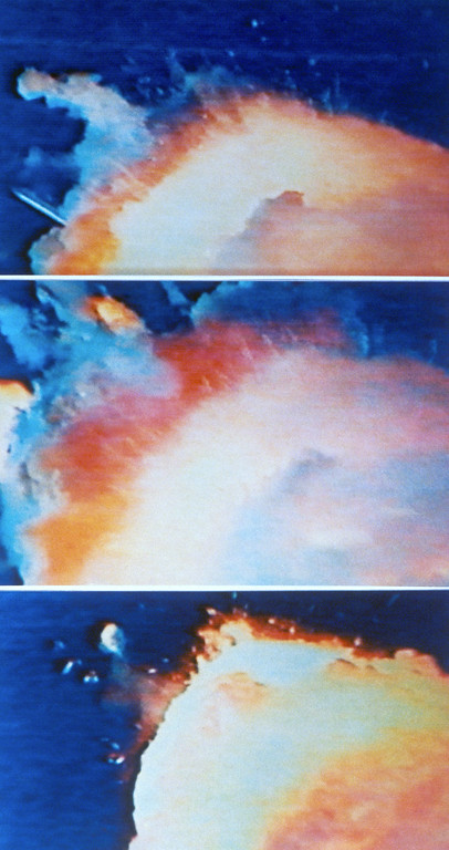 . Traveling at nearly 2,000 miles-per-hour, the United States space shuttle Challenger; explodes shortly after being launched from Cape Canaveral on Jan. 28, 1986, taking its crew of seven to instant death.  Pictures are from a television replay of the disaster as recorded in London. (AP Photo)