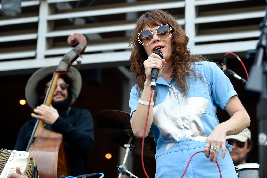 . Singer Jenny Lewis, right, performs onstage with Don Was during a 77th birthday celebration for Ringo Starr at Capitol Records on Friday, July 7, 2017, in Los Angeles. (Photo by Chris Pizzello/Invision/AP)