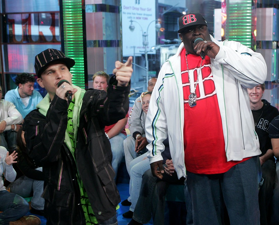 . File - (L-R) Skater Rob Dyrdek and Christopher \'Big Black\' Boykin from the show Rob & Big make an appearance on MTV\'s Total Request Live on November 2, 2006 in New York City. Boykin died of a heart attack on Tuesday, May 9, 2017, according to sources at People Magazine. Boykin starred in �Rob & Big� with Rob Dyrdek - former professional skateboarder turned MTV star. He was 45. (Photo by Peter Kramer/Getty Images)