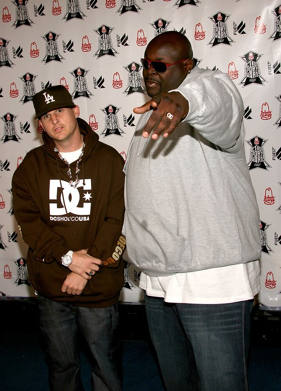 ". File - Skater Rob Dyrdek (L) and Christopher ""Big Black\"" Boykin from the show Rob & Big arrives at the Inagural \""Arby\'s Action Sports Awards\"" held at Center Staging on November 30, 2006 in Burbank, California.  Boykin died Tuesday, May 9, 2017, of a heart attack, according to sources at People Magazine. Boykin starred in �Rob & Big� with Rob Dyrdek - former professional skateboarder turned MTV star. He was 45. (Photo by Frederick M. Brown/Getty Images)"