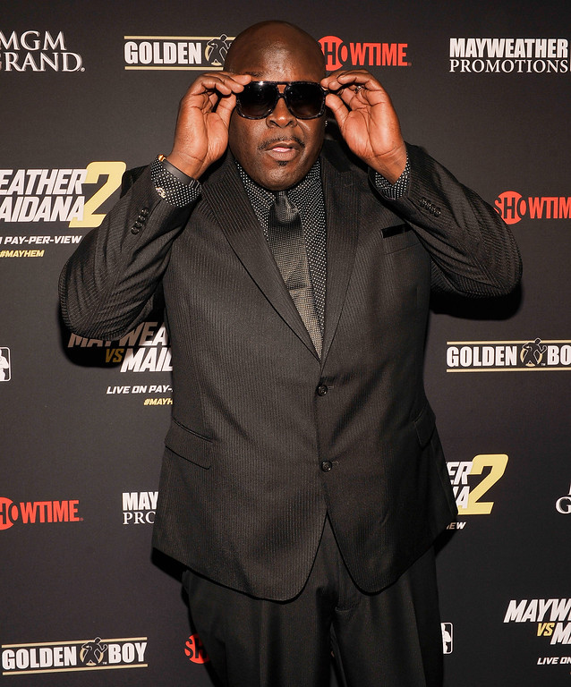 ". File - Television personality Christopher ""Big Black\"" Boykin arrives at Showtime\'s VIP prefight party for \""Mayhem: Mayweather vs. Maidana 2\"" at the MGM Grand Garden Arena on September 13, 2014 in Las Vegas, Nevada.  (Photo by David Becker/Getty Images for SHOWTIME SPORTS)"