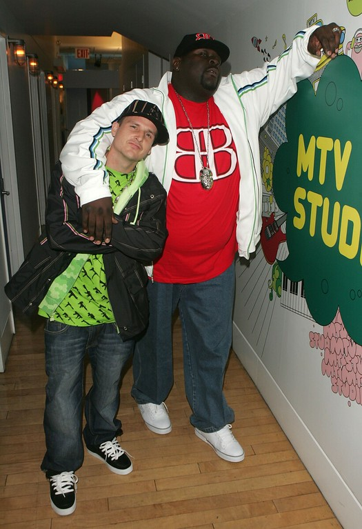 . File - (L-R) Skater Rob Dyrdek and Christopher \'Big Black\' Boykin from the show Rob & Big make an appearance on MTV\'s Total Request Live on November 2, 2006 in New York City.  Boykin died Tuesday, May 9, 2017, of a heart attack, according to sources at People Magazine. Boykin starred in �Rob & Big� with Rob Dyrdek - former professional skateboarder turned MTV star. He was 45. (Photo by Peter Kramer/Getty Images)