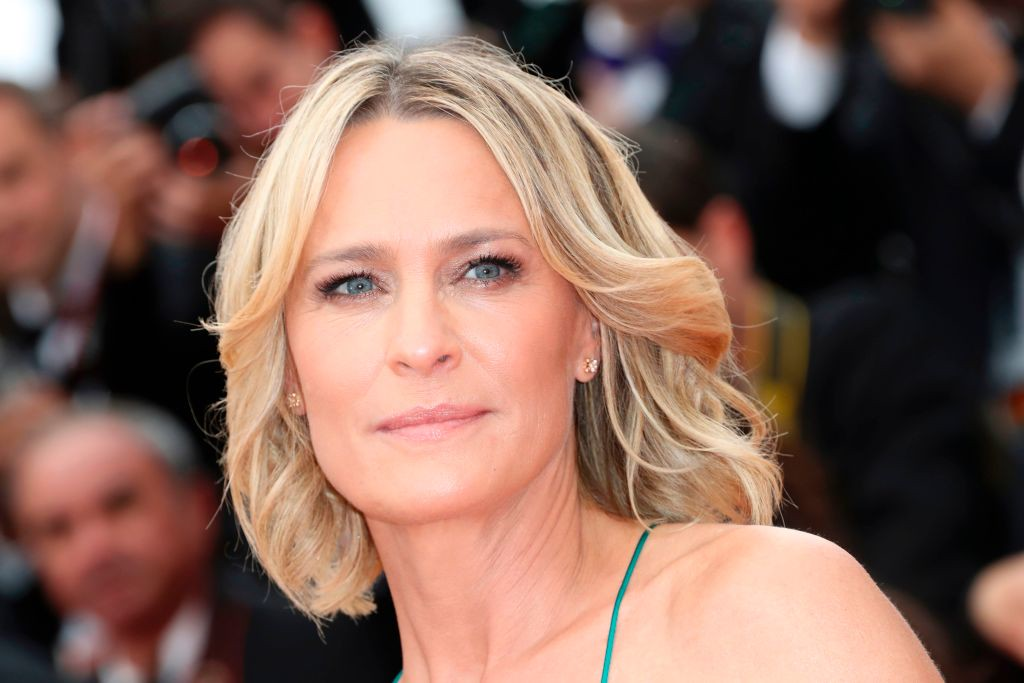 . US actress Robin Wright poses as she arrives on May 18, 2017 for the screening of the film \'Loveless\' (Nelyubov) at the 70th edition of the Cannes Film Festival in Cannes, southern France.  (VALERY HACHE/AFP/Getty Images)