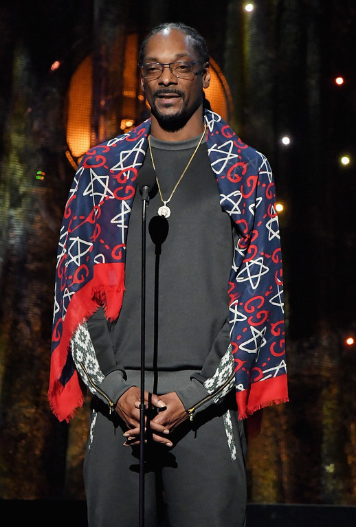 . NEW YORK, NY - APRIL 07:  Presenter Snoop Dogg speaks onstage at the 32nd Annual Rock & Roll Hall Of Fame Induction Ceremony at Barclays Center on April 7, 2017 in New York City. The event will broadcast on HBO Saturday, April 29, 2017 at 8:00 pm ET/PT  (Photo by Mike Coppola/Getty Images)
