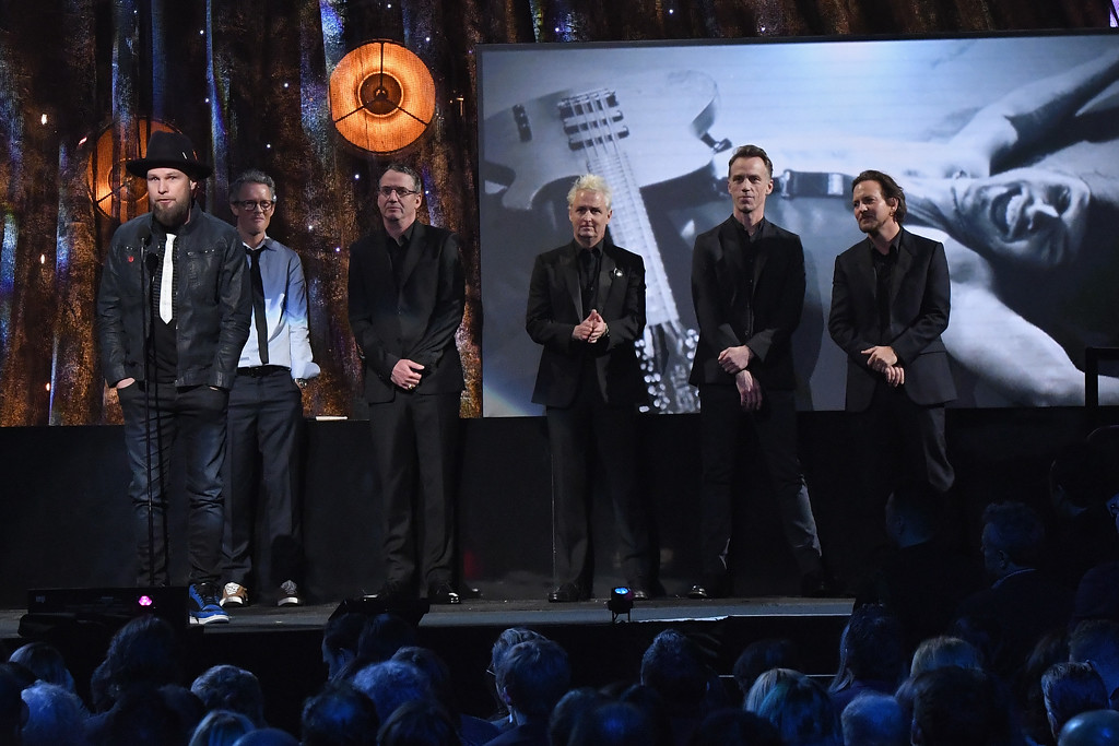 . NEW YORK, NY - APRIL 07:  2017 Inductees Eddie Vedder, Dave Krusen, Stone Gossard, Jeff Ament, Mike McCready and Matt Cameron of Pearl Jam speak onstage at the 32nd Annual Rock & Roll Hall Of Fame Induction Ceremony at Barclays Center on April 7, 2017 in New York City. The event will broadcast on HBO Saturday, April 29, 2017 at 8:00 pm ET/PT  (Photo by Mike Coppola/Getty Images)