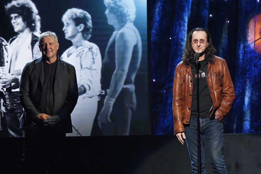 . NEW YORK, NY - APRIL 07:  Presenters Alex Lifeson and Geddy Lee of Rush speak onstage at the 32nd Annual Rock & Roll Hall Of Fame Induction Ceremony at Barclays Center on April 7, 2017 in New York City. Debuting on HBO Saturday, April 29, 2017 at 8:00 pm ET/PT  (Photo by Mike Coppola/Getty Images)