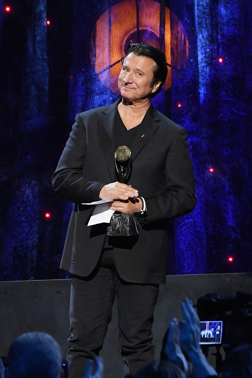. NEW YORK, NY - APRIL 07:  2017 Inductee Steve Perry of Journey speaks onstage at the 32nd Annual Rock & Roll Hall Of Fame Induction Ceremony at Barclays Center on April 7, 2017 in New York City. The event will broadcast on HBO Saturday, April 29, 2017 at 8:00 pm ET/PT  (Photo by Mike Coppola/Getty Images)
