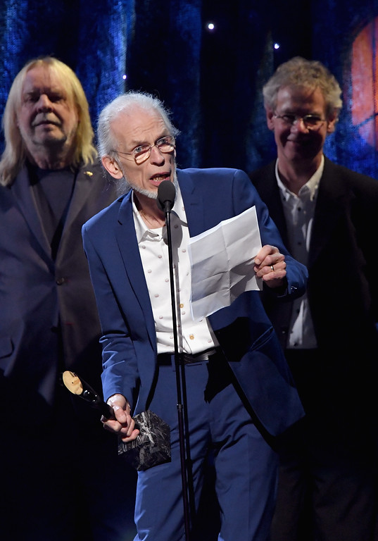 . NEW YORK, NY - APRIL 07:  Inductee Steve Howe of Yes speaks onstage at the 32nd Annual Rock & Roll Hall Of Fame Induction Ceremony at Barclays Center on April 7, 2017 in New York City. The event will broadcast on HBO Saturday, April 29, 2017 at 8:00 pm ET/PT  (Photo by Mike Coppola/Getty Images)