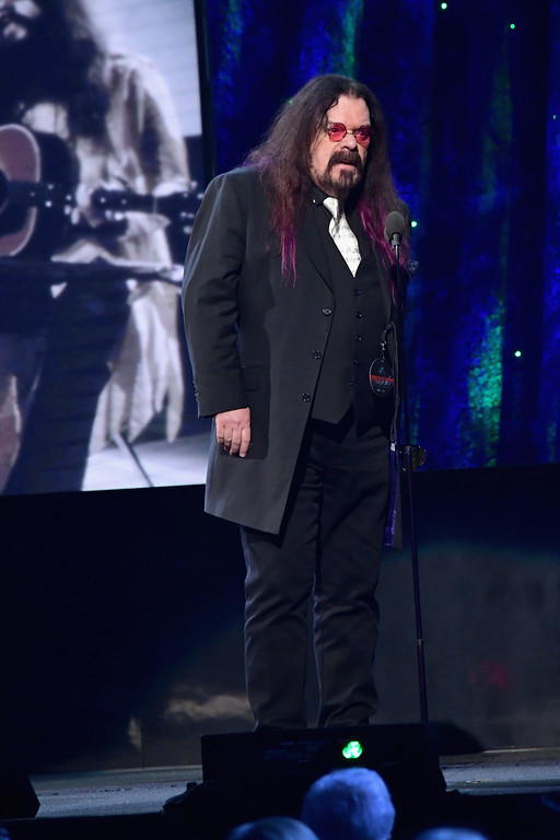 . NEW YORK, NY - APRIL 07:  2017 Inductee Roy Wood of ELO speaks onstage at the 32nd Annual Rock & Roll Hall Of Fame Induction Ceremony at Barclays Center on April 7, 2017 in New York City. The event will broadcast on HBO Saturday, April 29, 2017 at 8:00 pm ET/PT  (Photo by Mike Coppola/Getty Images)