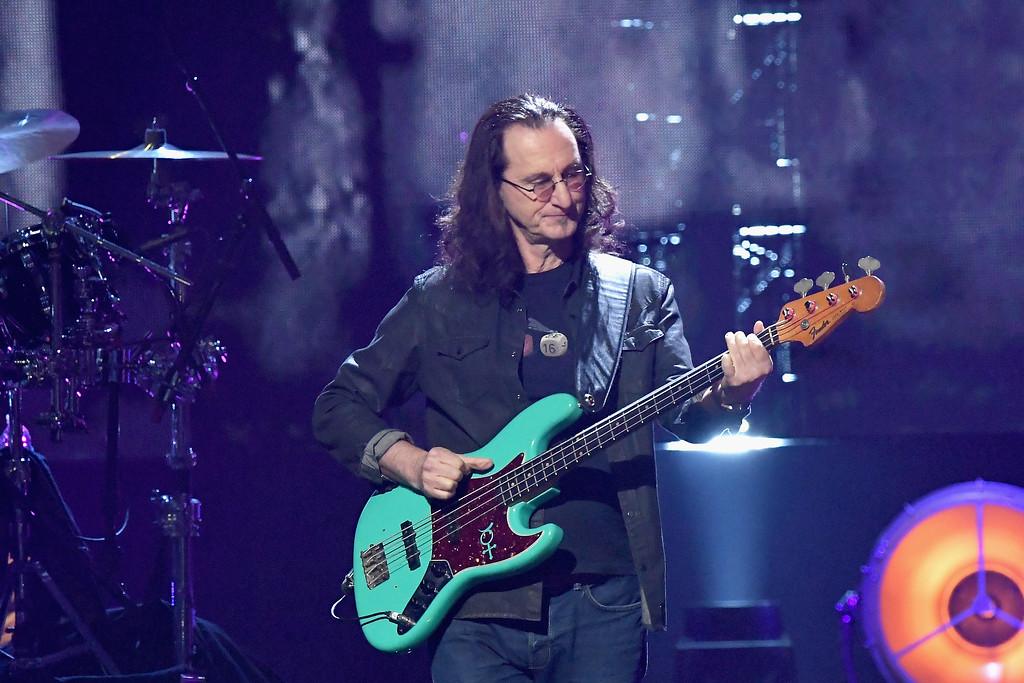 . NEW YORK, NY - APRIL 07:  2013 Inductee Geddy Lee of RUSH performs with Yes onstage at the 32nd Annual Rock & Roll Hall Of Fame Induction Ceremony at Barclays Center on April 7, 2017 in New York City. Debuting on HBO Saturday, April 29, 2017 at 8:00 pm ET/PT  (Photo by Mike Coppola/Getty Images)