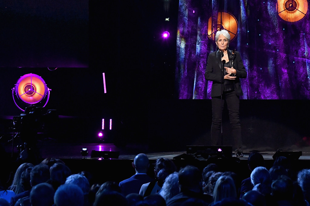 . NEW YORK, NY - APRIL 07:  2017 Inductee Joan Baez speaks onstage at the 32nd Annual Rock & Roll Hall Of Fame Induction Ceremony at Barclays Center on April 7, 2017 in New York City. The event will broadcast on HBO Saturday, April 29, 2017 at 8:00 pm ET/PT  (Photo by Mike Coppola/Getty Images)