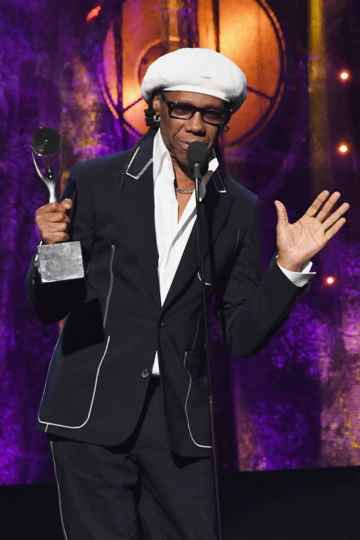 . NEW YORK, NY - APRIL 07:  2017 inductee Nile Rodgers speaks onstage at the 32nd Annual Rock & Roll Hall Of Fame Induction Ceremony at Barclays Center on April 7, 2017 in New York City. The event will broadcast on HBO Saturday, April 29, 2017 at 8:00 pm ET/PT  (Photo by Mike Coppola/Getty Images)