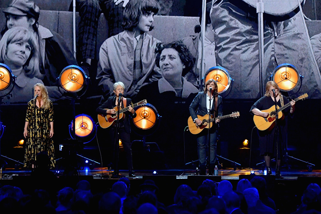 . NEW YORK, NY - APRIL 07:  2017 Inductee Joan Baez performs with Mary Chapin Carpenter and Amy Ray and Emily Saliers of Indigo Girls onstage at the 32nd Annual Rock & Roll Hall Of Fame Induction Ceremony at Barclays Center on April 7, 2017 in New York City. Debuting on HBO Saturday, April 29, 2017 at 8:00 pm ET/PT  (Photo by Mike Coppola/Getty Images)