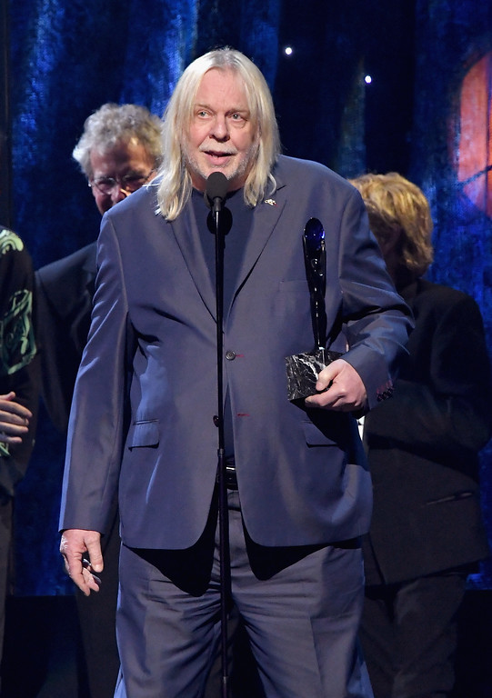 . NEW YORK, NY - APRIL 07:  2017 Inductee Rick Wakeman of Yes speaks onstage at the 32nd Annual Rock & Roll Hall Of Fame Induction Ceremony at Barclays Center on April 7, 2017 in New York City. The event will broadcast on HBO Saturday, April 29, 2017 at 8:00 pm ET/PT  (Photo by Mike Coppola/Getty Images)
