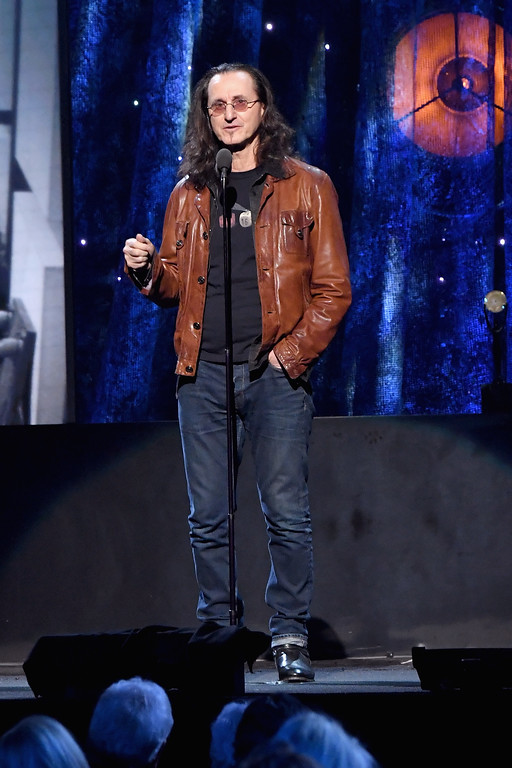 . NEW YORK, NY - APRIL 07:  Presenter Geddy Lee of Rush speaks onstage at the 32nd Annual Rock & Roll Hall Of Fame Induction Ceremony at Barclays Center on April 7, 2017 in New York City. Debuting on HBO Saturday, April 29, 2017 at 8:00 pm ET/PT  (Photo by Mike Coppola/Getty Images)