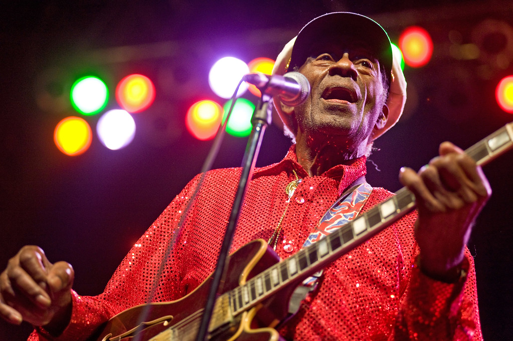. CHICAGO - JANUARY 01:  Chuck Berry performs at the Congress Theater on January 1, 2011 in Chicago, Illinois. (Photo by Timothy Hiatt/Getty Images)