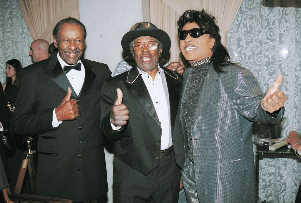 . (L to R) Musicians Chuck Berry, Bo Didley and Little Richards pose at the B.M.I. Pop Music Awards May 2, 2002 in Beverly Hills, CA. (Photo by David Klein/Getty Images)