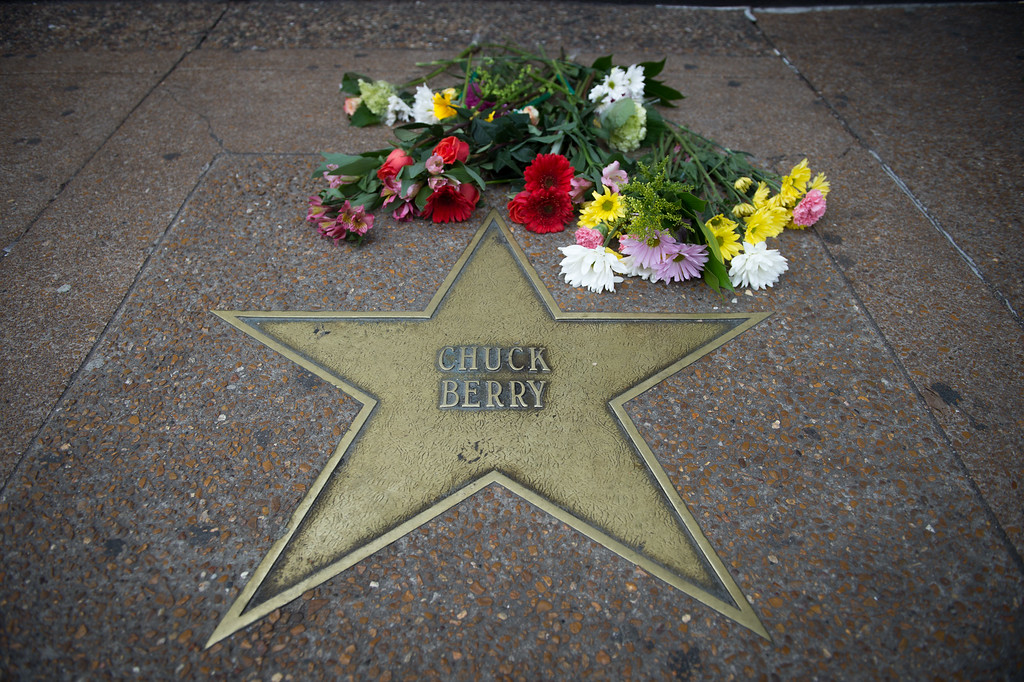. UNIVERSITY CITY, MO - MARCH 19: The star for singer and musician Chuck Berry is seen on the Delmar Loop Walk of Fame outside Blueberry Hill restaurant in University City, Missouri, on March 19, 2017. The rock \'n\' roll pioneer died on Saturday at the age of 90 at his home in a suburb of St. Louis, Missouri. (Photo by Michael B. Thomas/Getty Images)