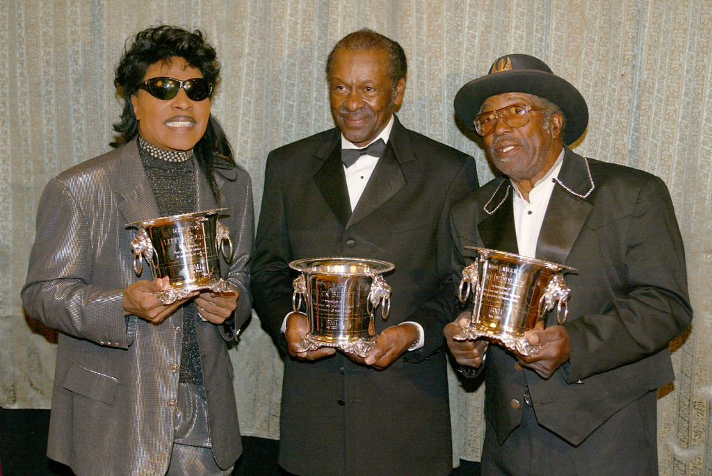 """. Little Richard, Chuck Berry and Bo Diddley were each honored with the \""""Icon Award\"""" at \""""The 50th Annual BMI Pop Awards\"""" at the Regent Beverly Wilshire Hotel in Beverly Hills, Ca. Tuesday, May 14, 2002. Photo by Kevin Winter/Getty Images."""