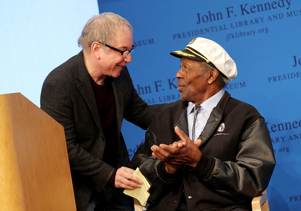 . Boston, MA - FEBRUARY 26: Paul Simon and honoree Chuck Berry during the 2012 Awards for Lyrics of Literary Excellence at The John F. Kennedy Presidential Library And Museum on February 26, 2012 in Boston, Massachusetts. (Photo by Marc Andrew Deley/Getty Images)