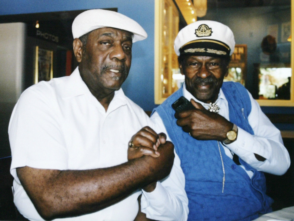 ". Johnnie Johnson, left, and Chuck Berry pose in an undated photo. Berry, rock \'n\' roll\'s founding guitar hero and storyteller who defined the music\'s joy and rebellion in such classics as ""Johnny B. Goode,\"" \'\'Sweet Little Sixteen\"" and \""Roll Over Beethoven,\"" died Saturday, March 18, 2017, at his home west of St. Louis. He was 90. (AP Photo/HO)"