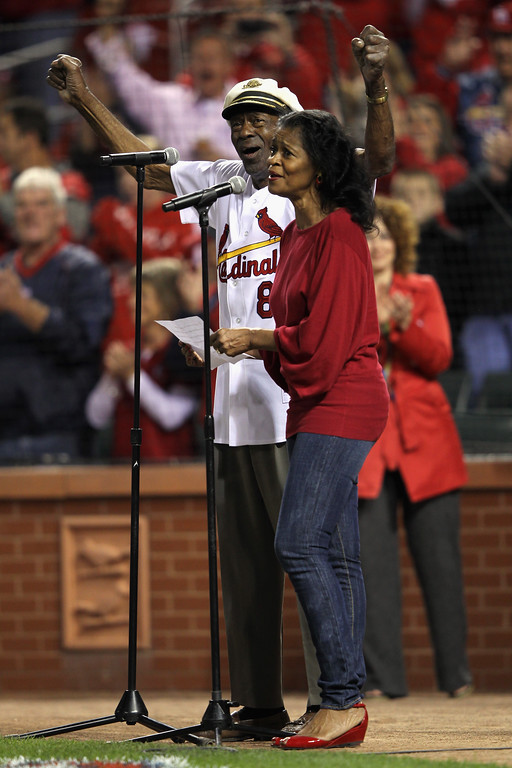 . ST LOUIS, MO - OCTOBER 14:  Singer Chuck Berry and his daughter Ingrid perform the national Anthem prior to the St. Louis Cardinals hosting the Milwaukee Brewers during Game Five of the National League Championship Series at Busch Stadium on October 14, 2011 in St Louis, Missouri.  (Photo by Jamie Squire/Getty Images)