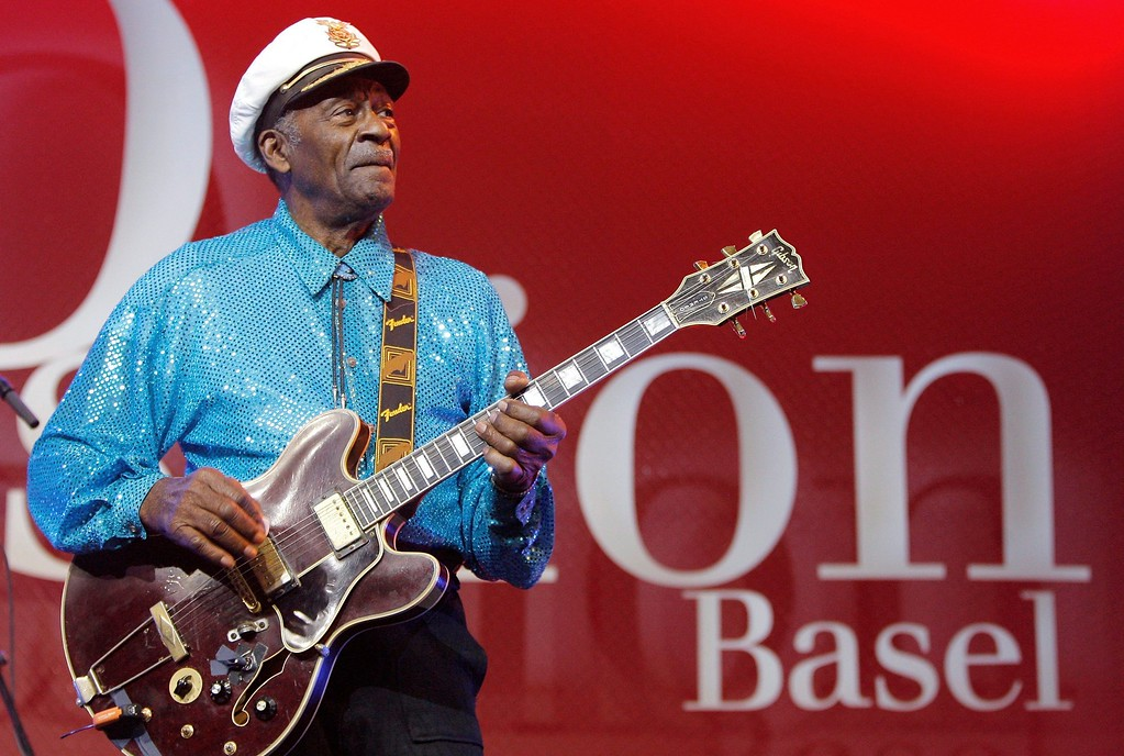 ". FILE - In this Nov. 13, 2007 file photo, legendary U.S. musician Chuck Berry performs on stage at the Avo Session in Basel, Switzerland. Berry, rock \'n\' roll\'s founding guitar hero and storyteller who defined the music\'s joy and rebellion in such classics as ""Johnny B. Goode,\"" \'\'Sweet Little Sixteen\"" and \""Roll Over Beethoven,\"" died Saturday, March 18, 2017, at his home west of St. Louis. He was 90. (Peter Klaunzer/Keystone via AP, File)"
