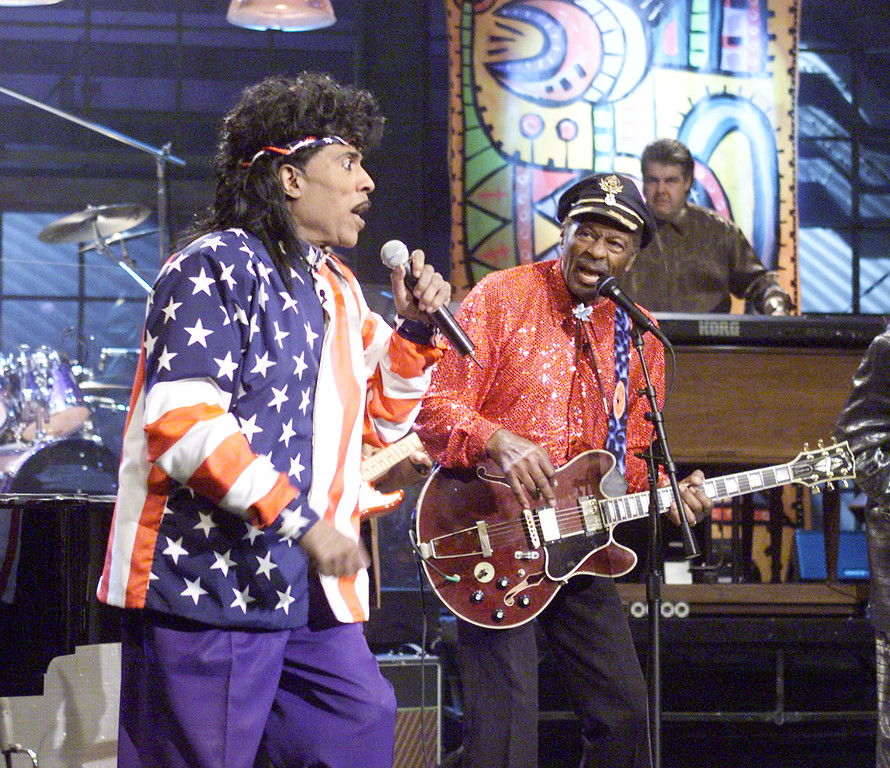 """. Little Richard and Chuck Berry on \""""The Tonight Show with Jay Leno\"""" at the NBC Studios in Los Angeles, Ca. Thursday, Jan. 24, 2002. Photo by Kevin Winter/Getty Images."""