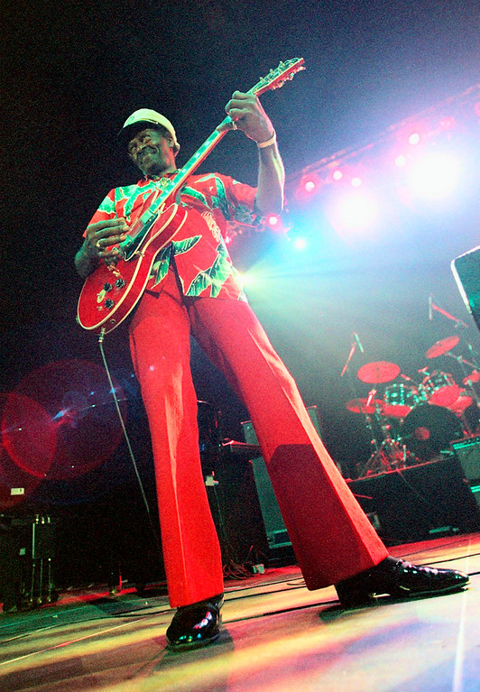 """. FILE - In this Tuesday, July 28, 1998 file photo, Chuck Berry performs during the \""""Legends of Rock \'n\' Roll\"""" at the Hallenstadion in Zurich, Switzerland. Berry headlined the show that also featured appearances by Little Richard and Jerry Lee Lewis. On Saturday, March 18, 2017, police in Missouri said Berry has died at the age of 90. (Michele Limina/Keystone via AP)"""