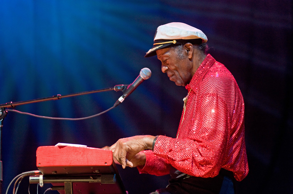 """. Chuck Berry performs at the Congress Theater on January 1, 2011 in Chicago, Illinois. Berry, rock \'n\' roll\'s founding guitar hero and storyteller who defined the music\'s joy and rebellion in such classics as \""""Johnny B. Goode,\"""" \'\'Sweet Little Sixteen\"""" and \""""Roll Over Beethoven,\"""" died Saturday, March 18, 2017, at his home west of St. Louis. He was 90. (Photo by Timothy Hiatt/Getty Images)"""
