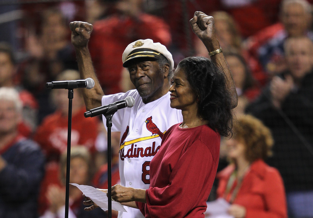 . ST LOUIS, MO - OCTOBER 14:  Singer Chuck Berry and his daughter Ingrid perform the national Anthem prior to the St. Louis Cardinals hosting the Milwaukee Brewers during Game Five of the National League Championship Series at Busch Stadium on October 14, 2011 in St Louis, Missouri. On Saturday, March 18, 2017, police in Missouri said Berry has died at the age of 90.  (Photo by Jamie Squire/Getty Images)