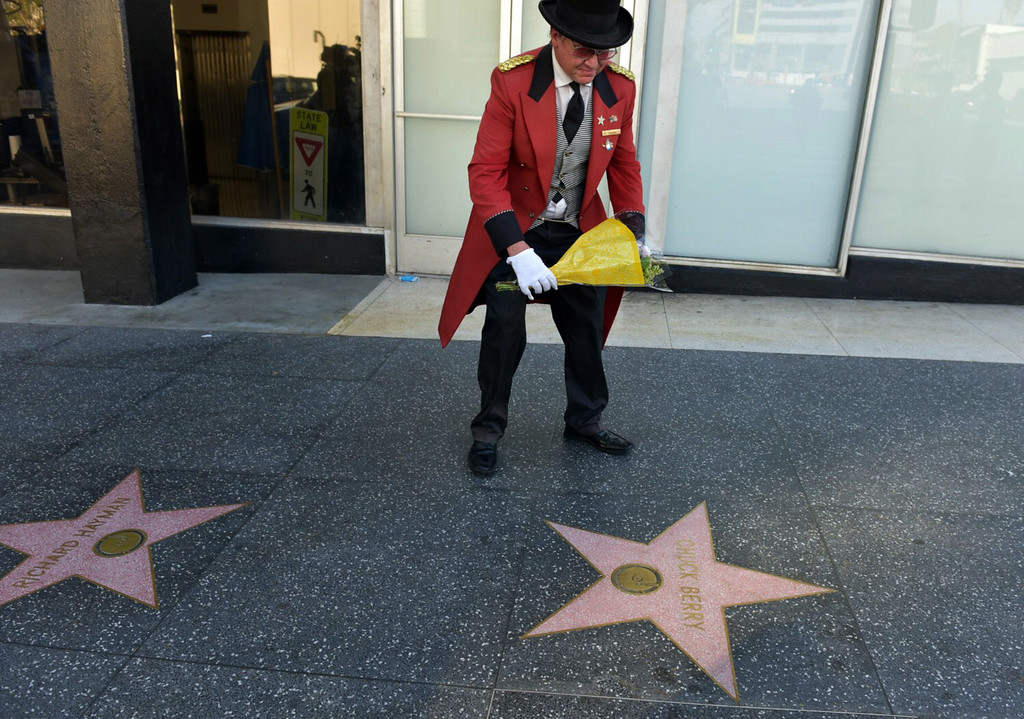 . HOLLYWOOD, CA - MARCH 18: Flowers are placed on Chuck Berry\'s Hollywood Walk of Fame Star on March 18, 2017 in Hollywood, California. Musician Chuck Berry passed away March 18, 2017 at a residence outside St. Louis.  He was 90 years old. (Photo by Rodin Eckenroth/Getty Images)