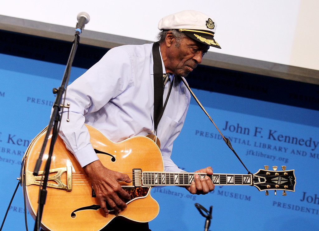 . Boston, MA - FEBRUARY 26: Chuck Berry performs during the 2012 Awards for Lyrics of Literary Excellence at The John F. Kennedy Presidential Library And Museum on February 26, 2012 in Boston, Massachusetts. (Photo by Marc Andrew Deley/Getty Images)