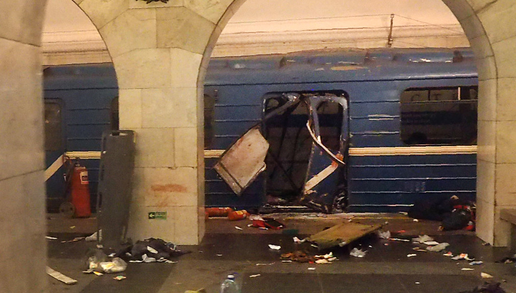. A picture shows the damaged train carriage at Technological Institute metro station in Saint Petersburg on April 3, 2017. Around 10 people were feared dead and dozens injured Monday after an explosion rocked the metro system in Russia\'s second city Saint Petersburg, according to authorities, who were not ruling out a terror attack. (STR/AFP/Getty Images)