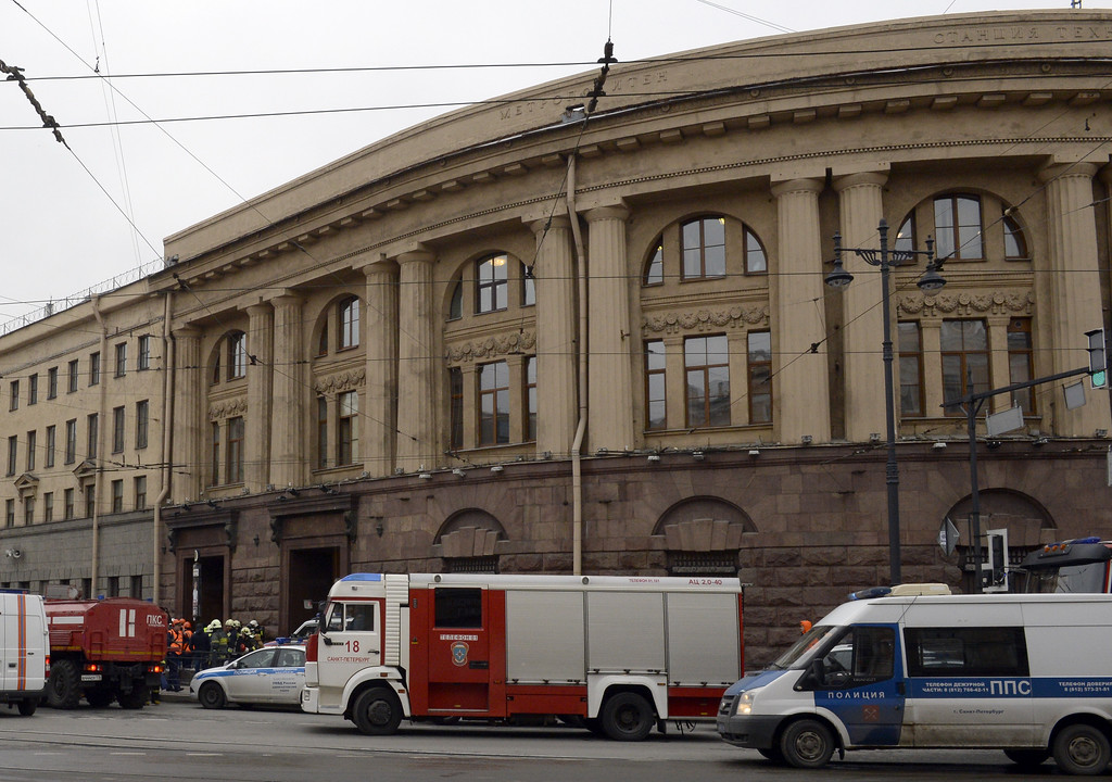 . Police and emergency services personnel and vehicles are seen at the entrance to Technological Institute metro station in Saint Petersburg on April 3, 2017. Around 10 people were feared dead and dozens injured Monday after an explosion rocked the metro system in Russia\'s second city Saint Petersburg, according to authorities, who were not ruling out a terror attack. (OLGA MALTSEVA/AFP/Getty Images)